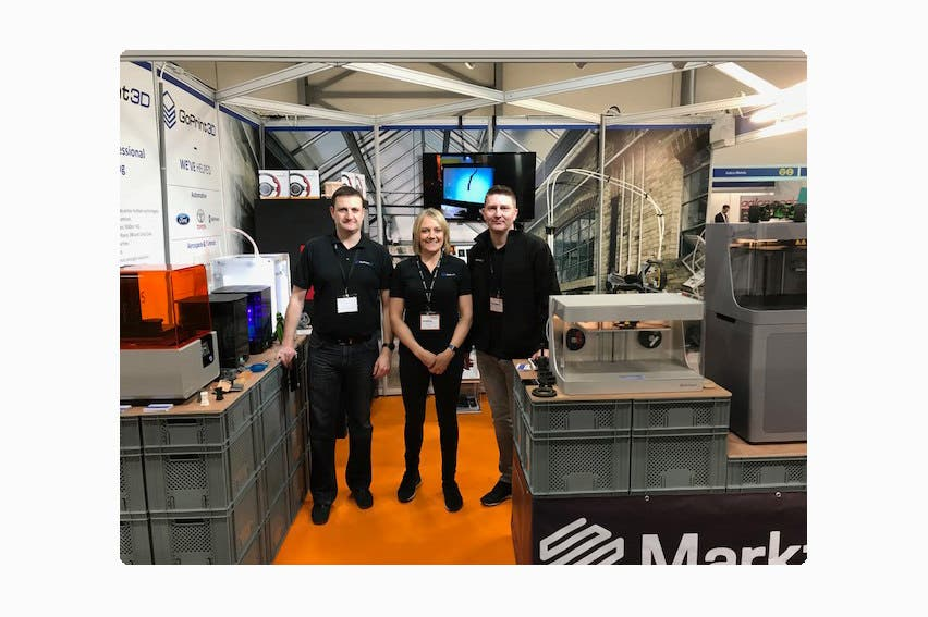 The team on GoPrint3D's stand at Southern Manufacturing 2018